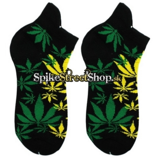 Ponožky MARIHUANA - Cannabis Leaf In Rasta  Leaf Colours Socks Black