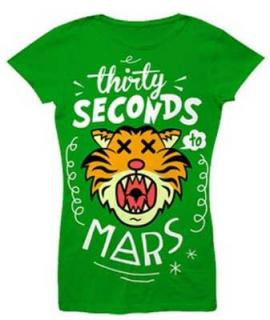 30 SECONDS TO MARS - Cartoon Tiger Ladies Skinny Fit - zelené dámske tričko
