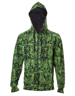 MARVEL COMICS -  The Hulk Comic Book Pattern Hoodie - zelená pánska mikina